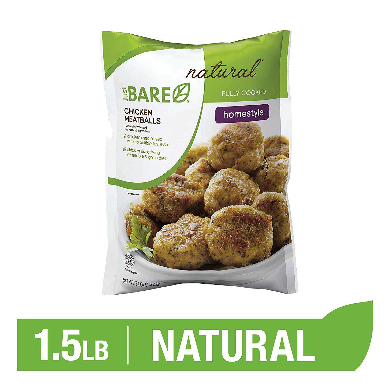 Just BARE Natural Chicken Meatballs | Fully Cooked | Homestyle | Frozen | 1.50 LB