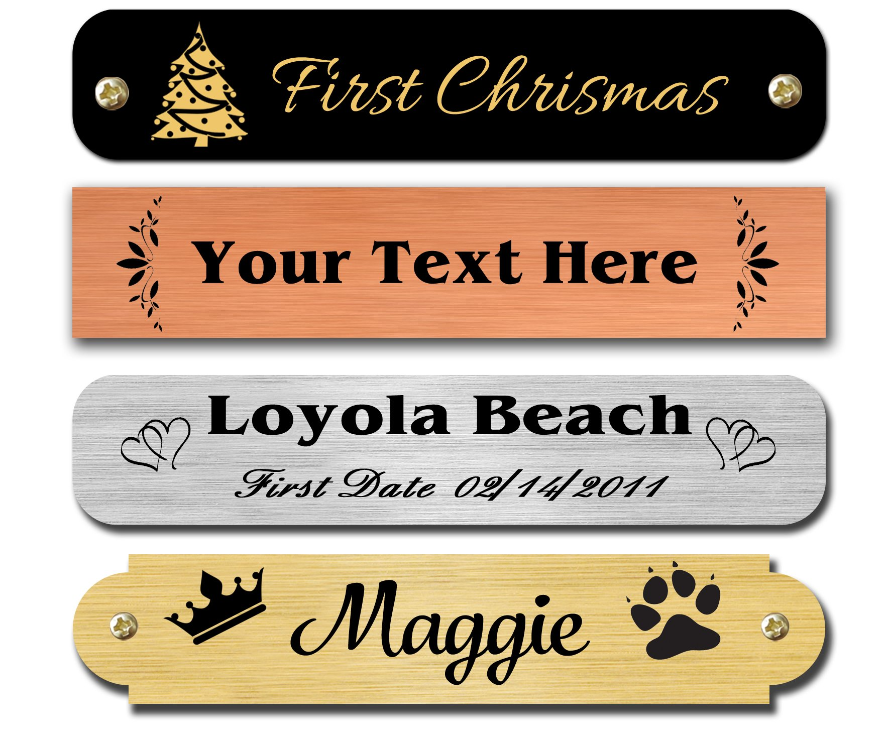 0.5'' H x 2.5'' W, Brass Nameplates, Personalized, Custom Engraved Tag, Name Plaque, Square Or Round Corners Made in USA (Gloss Black)