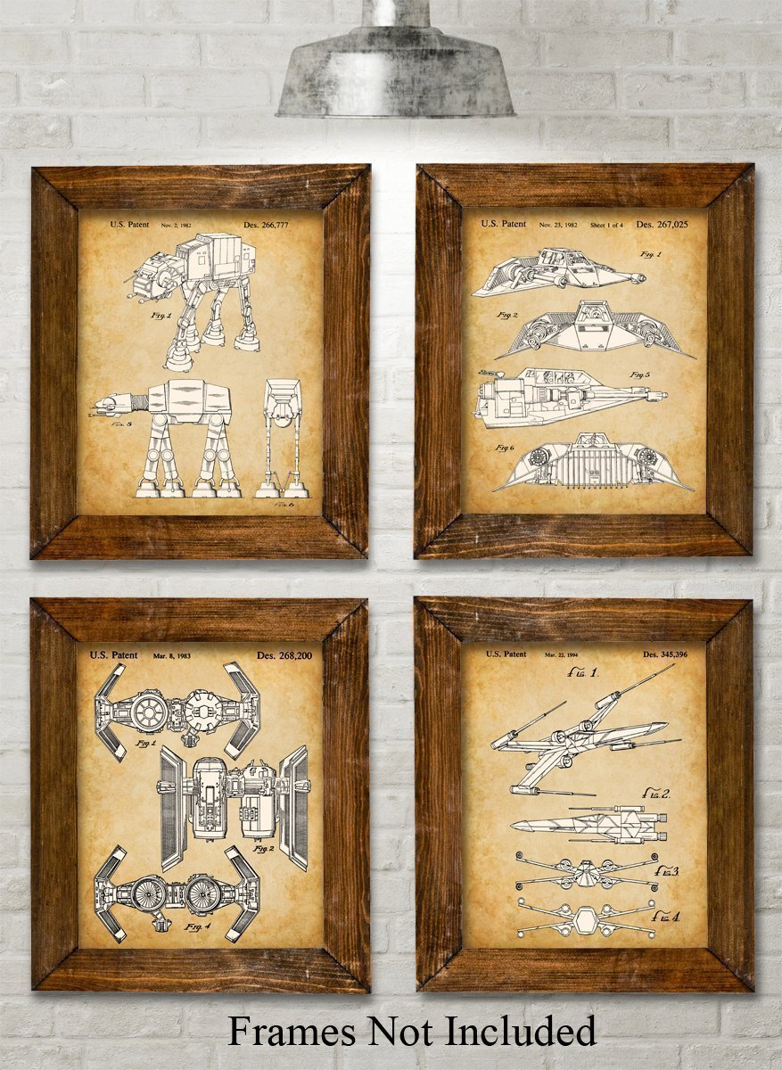 Original Star Wars Vehicles Patent Art Prints - Set of Four Photos (8x10) Unframed - Great Gift for Star Wars Fans