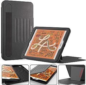 Timecity iPad Mini 5/Mini 4 Case, iPad Mini 5th Generation Case.Very Protective But Convenient Magnetic Stand + Smart Sleep/Wake + Elastic Pencil Pocket + Card Holder Cover for iPad Mini 5,Black