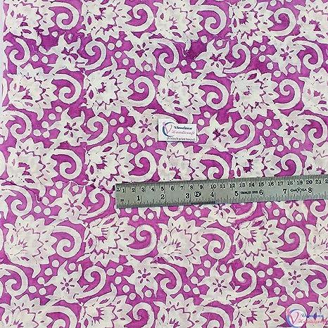 By Yard Indian Hand Block Print Cotton Fabric Natural Printed Sanganeri Vintage