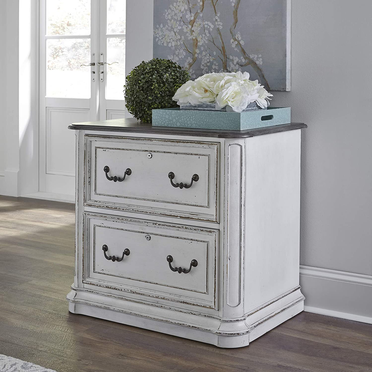 Liberty Furniture Industries Magnolia Manor Jr Executive Media Lateral File, W34 x D22 x H31, White