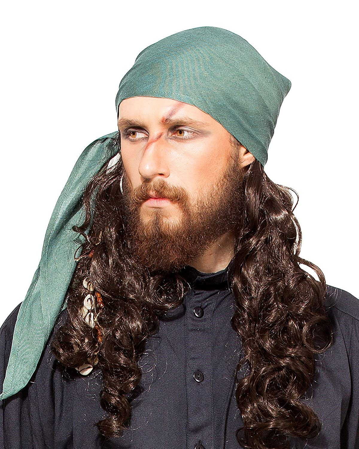 Deluxe Adult Costumes - Pirate medieval renaissance green linen triangle bandana