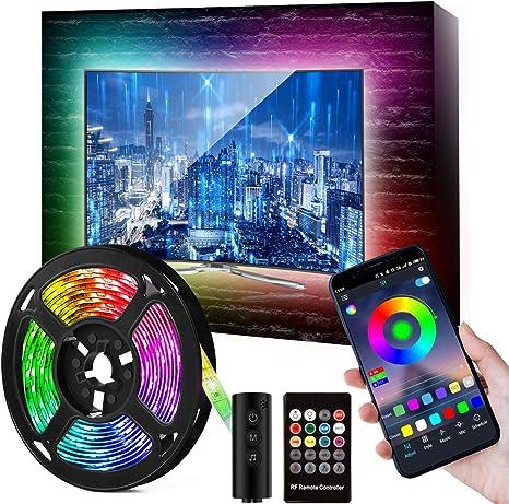 Tira LED TV de 46-60 pulgadas de 9.84FT, con 16 millones de colores, tira de LED RGB, impermeable, con alimentación USB (control por aplicación + botones de control remoto + controlador): Amazon.es: Iluminación