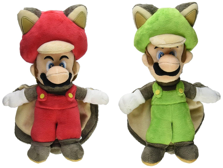 Little Buddy Mario Plush Doll Set of 2 - Flying Squirrel Mario & Squirrel Luigi