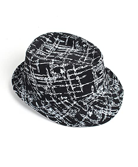 boxed-gifts Black   White Patterned Fedora Hat at Amazon Men s ... e120c1fecaf