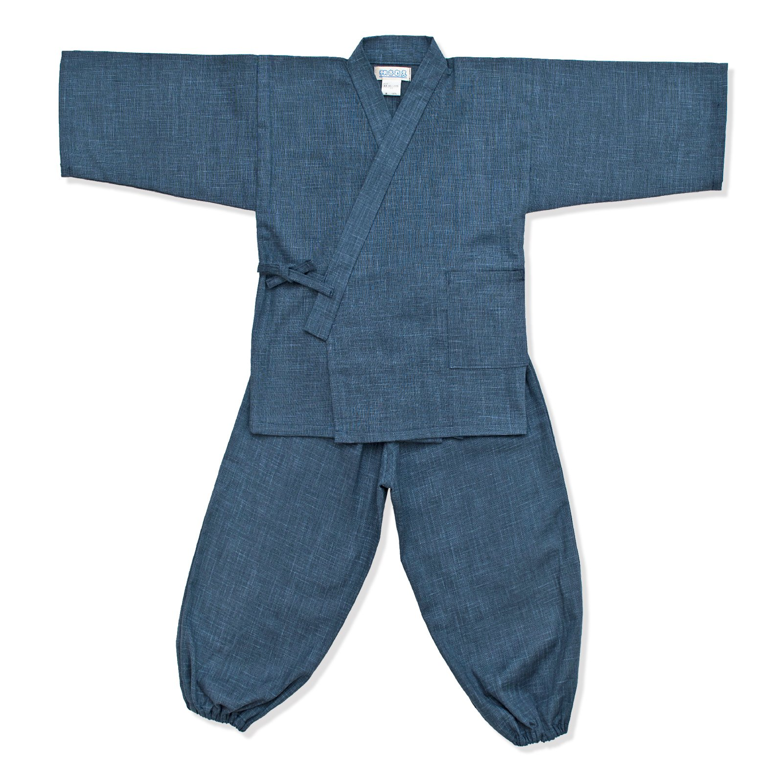 wasuian Big Boys' Samue Work Clothes Kasuri Tsumugi 120 Dark Navy