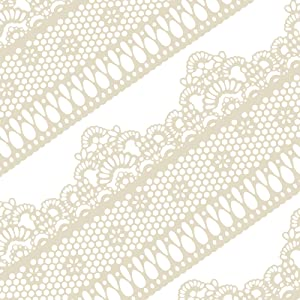 Funshowcase Ready to Use Edible Cake Lace Lattice with Small Daisy Ivory White 14-inch 10-piece Set