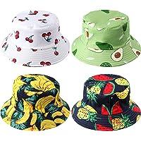 Piklohas Unisex Bucket Hats, 4 Pieces Fisherman Hat for Teens, Cute Bucket Hat with Avocado, Cherry, Watermelon…