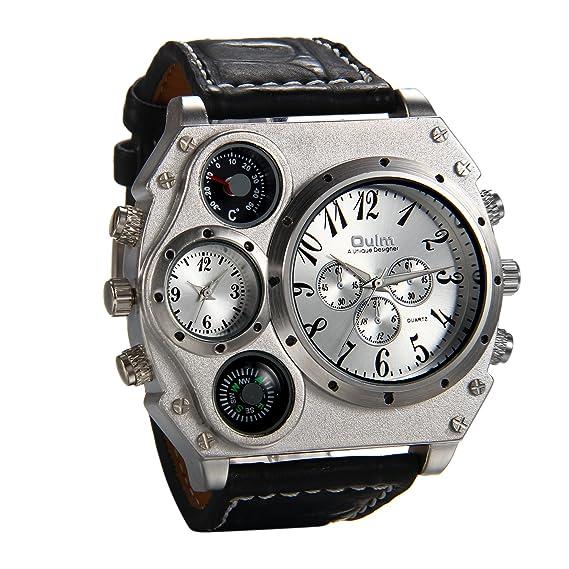 JewelryWe Relojes de Hombre Caballero, Grande Deportivo Militar Tiempo Dual, Reloj de Pulsera Cuarzo de Cuero Negro Plateado, Buen Regalo 2017: Amazon.es: ...