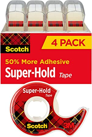 Transparent Finish Scotch Super-Hold Tape Trusted Favorite Dispensered 4  Rolls 4198 50/% More Adhesive 3.//4 x 650 Inches