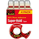 Scotch Super-Hold Tape, 4 Rolls, Transparent Finish, 50% More Adhesive, Trusted Favorite, 3./4 x 650 Inches, Dispensered (419