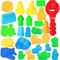 USA Toyz Sand Molds - 27pk Mini Sandbox Toys for Toddlers, Sand Castle Building Kit Compatible with Any Molding Sand
