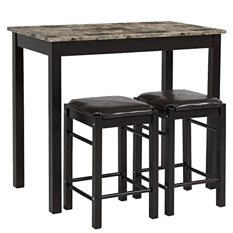 Best Choice Products 3 PC Dining Table Set Includes Table And 2 Stools