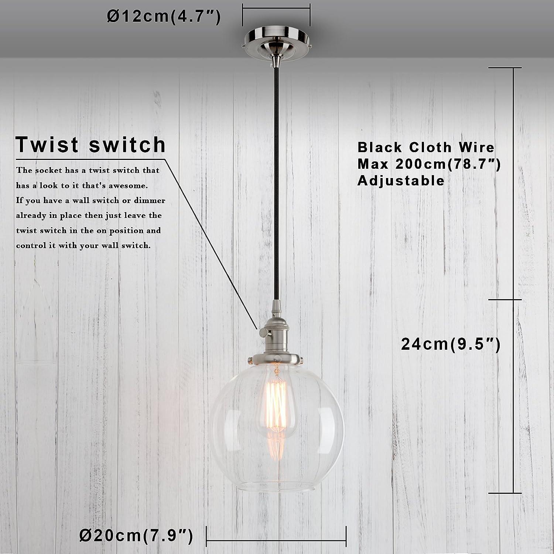 Amazon.com: Permo - Lámpara de techo colgante (cristal ...