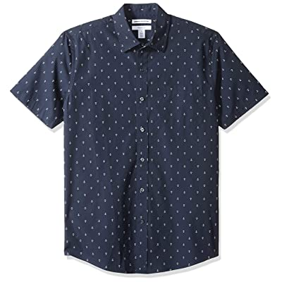 Essentials Men's Slim-fit Short-Sleeve Print Shirt: Clothing