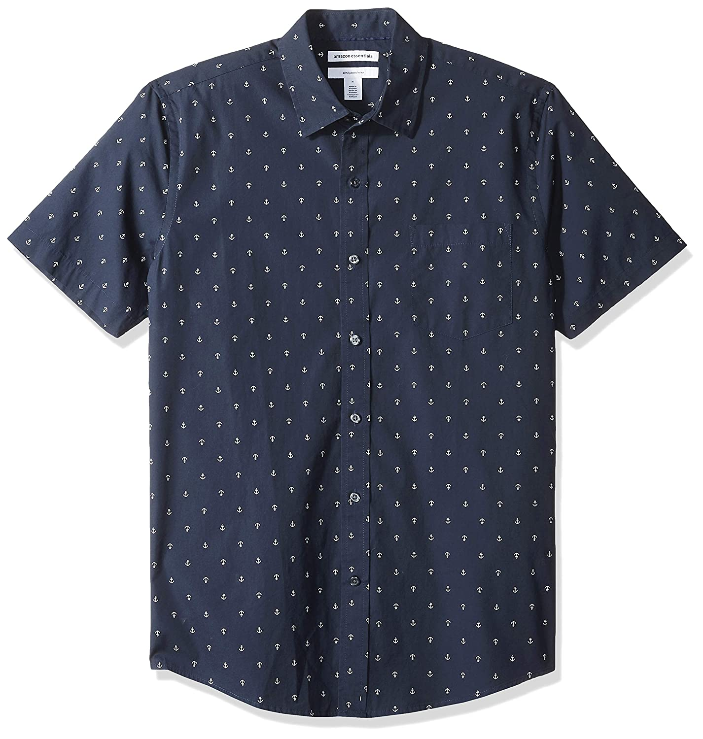 Essentials Mens Slim-fit Short-Sleeve Print Shirt