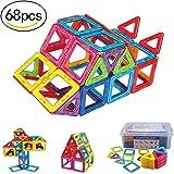 Large Size Magnetic Tiles Set, Akyhoo Magnetic Blocks Building Toys for Boys and Girls, 3D Building Blocks Construction Set, 68 Piece