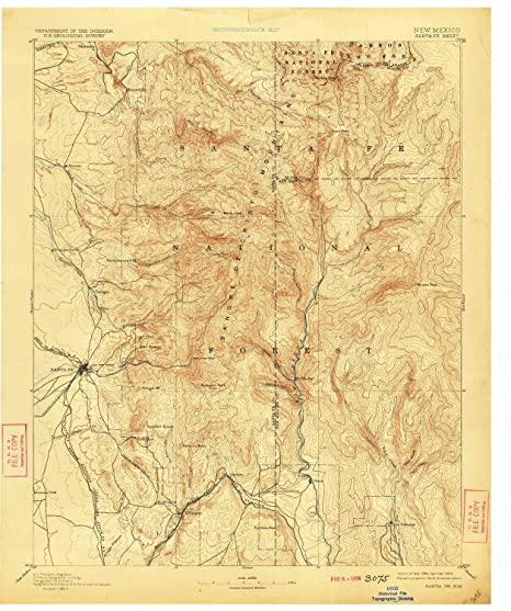 YellowMaps Santa Fe NM topo map, 1:125000 Scale, 30 X 30 Minute