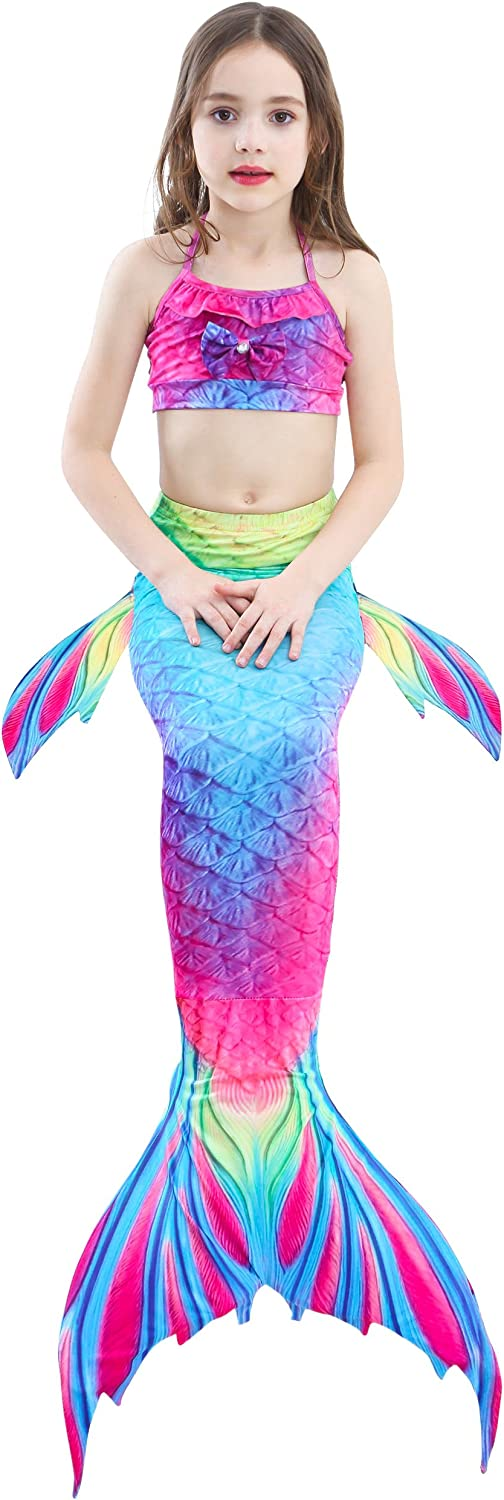 Qxyang 3 Pcs Mermaid Tail Girl Swimsuit Swimwear Bikini Costume Birthday Party Gift Can Add Monofin for 3-12Y Birthday