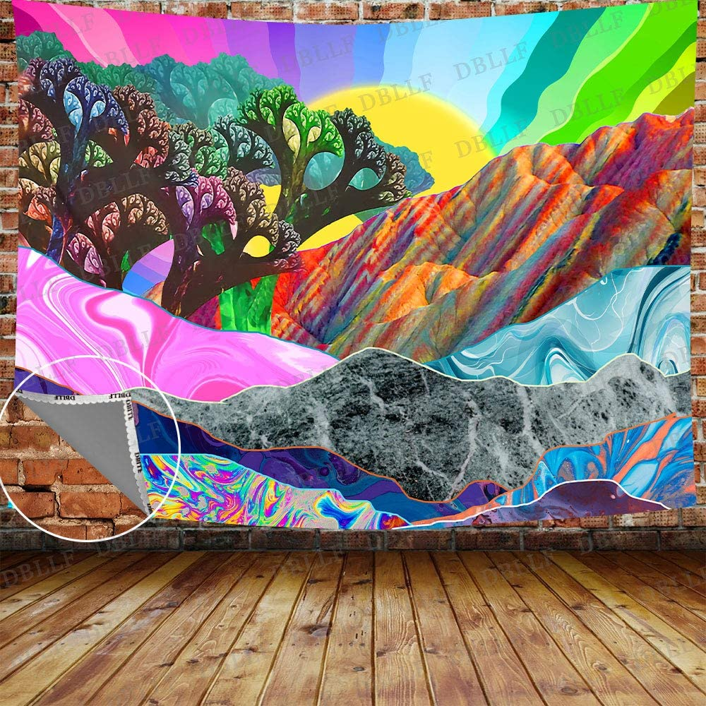 """DBLLF Psychedelic Tapestry Mountain and Sun Rays Tapestry Trippy Abstract Trees Tapestries Colorful Nature Landscape Tapestry, Queen Size 80""""x 60"""",for Living Room Dorm Bedroom Home Decor GTYYDB234"""