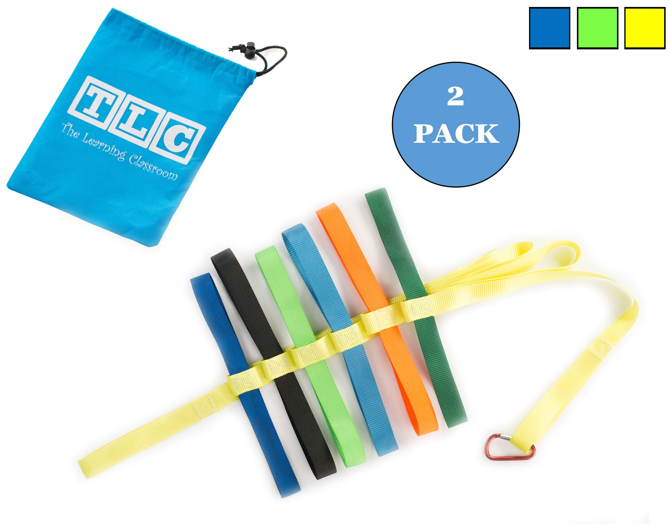 The Learning Classroom Preschool Walking Rope, Carry Bag, 12-Colorful Handles, Blue/Green/Yellow, 1-Pack or 2-Pack, Daycare, Toddler