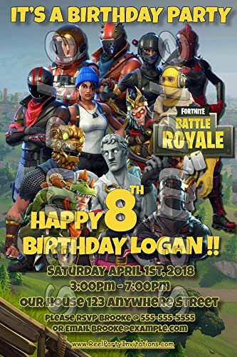 fortnite 4x6 printed birthday party invitations with envelopes 1