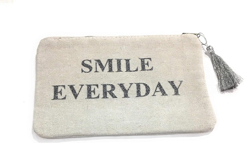 Estuche Plano con Purpurina con pompón Plateado – Smile Everyday – 22 x 14,5 cm: Amazon.es: Equipaje