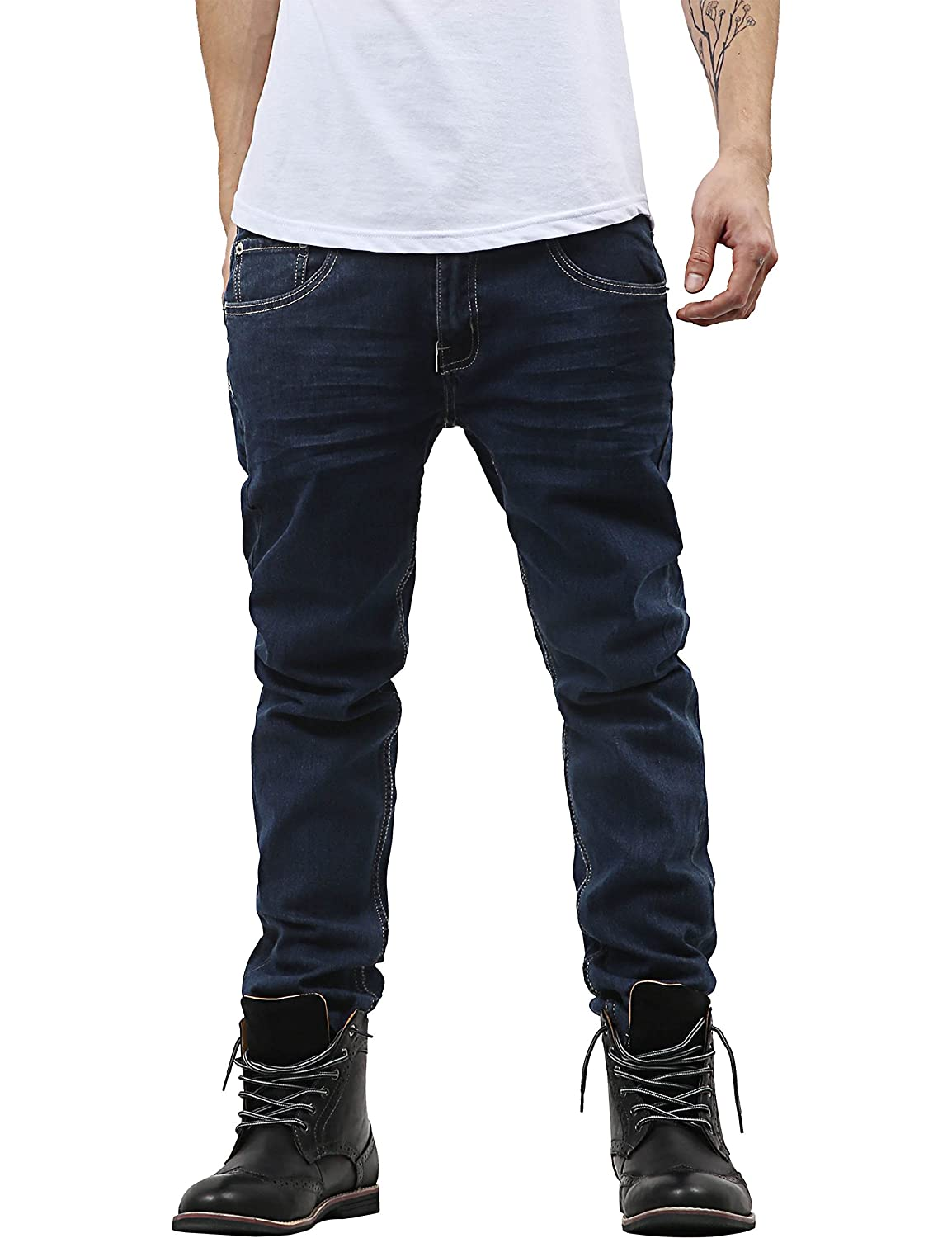 4ad6dc135ea Hat and Beyond Mens Skinny Fit Stretch Jeans Distressed Ripped Denim Pants  at Amazon Men s Clothing store