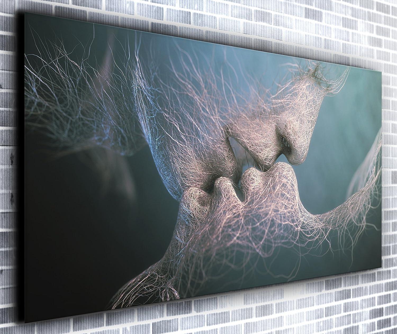 Berühren Lippen Wand Décor Panorama Wandbild auf Leinwand, gerahmt, XXL 139,7 x 61 cm über 4,5 Ft breit x 2 ft Hoch bereit Kunstdruck auf Leinwand – Landschaft – Modern Art