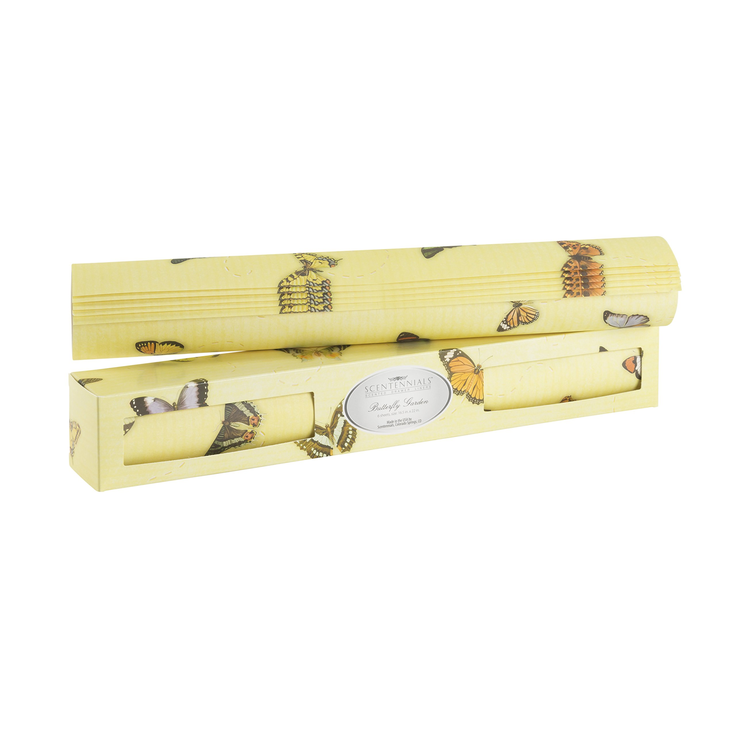 Scentennials BUTTERFLY GARDEN (6 SHEETS) Scented Fragrant Shelf & Drawer Liners 16.5'' x 22'' - Great for Dresser, Kitchen, Bathroom, Vanity & Linen Closet