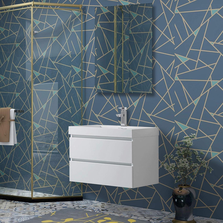 Vanity Art 30-Inch Single Sink Wall Mounted Bathroom Vanity Set   White Engineered Stone Top High-Glossy Finish - Two Drawers - VA6030W
