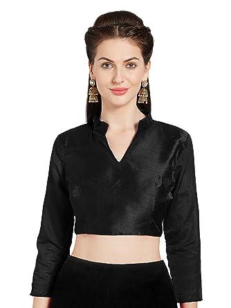 1befcf44ba4cce Women's Black Art Silk Readymade Saree Blouse Chinese Collar Choli Top