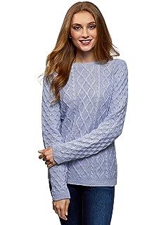 oodji Ultra Mujer Jersey de Punto Texturizado con Lazos en la Espalda 86d44f07722c