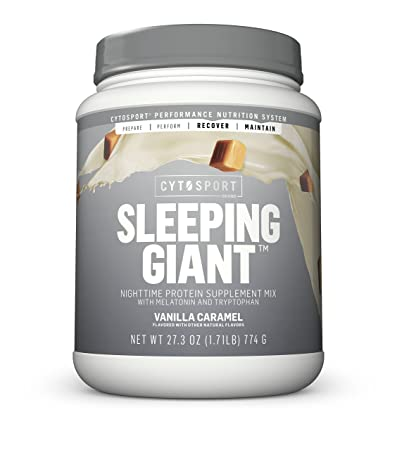 Cytosport Sleeping Giant Nighttime Protein Supplement Mix with Melatonin and Tryptophan, Vanilla Caramel, 1.71