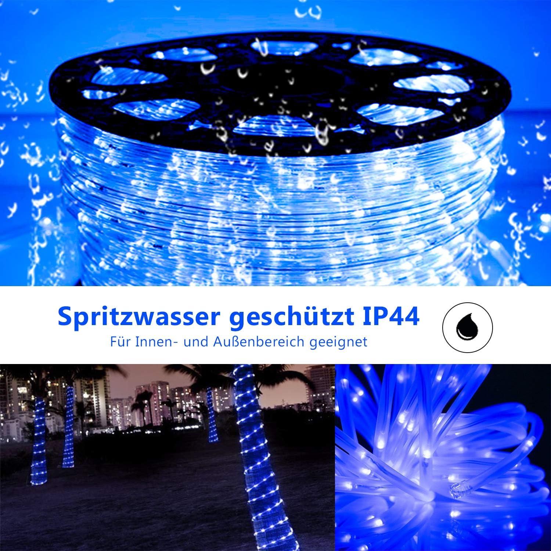Lichterkette f/ür Weihnachten Party Innen Dekoration Hengda 20m LED Lichtschlauch Lichterschlauch Blau Wasserdicht Lichtschl/äuche mit 480 LEDs Au/ßen Garten