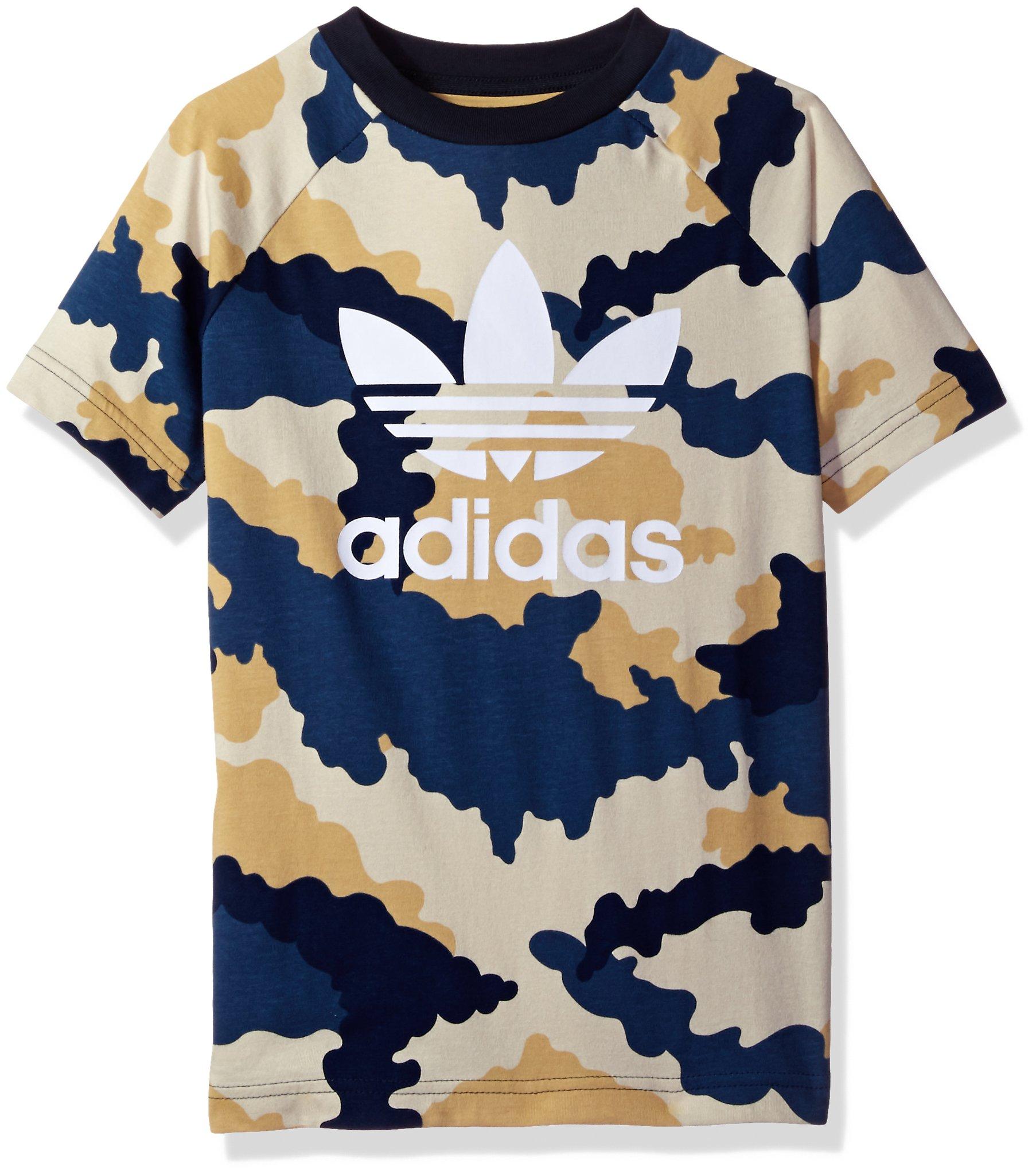 893faaf7 Galleon - Adidas Originals Tops Big Boys' Trefoil Tee, Tokyo Camo/Blue/Tan/White,  Small