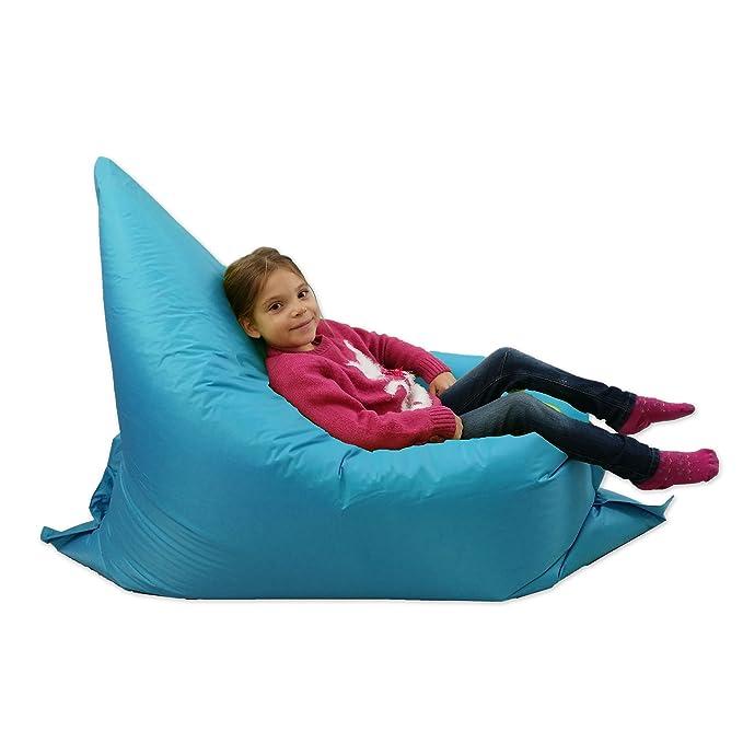 Puf para niños, tumbona para jardín, grande, de 6 posiciones. Pufs gigantes para niños para exteriores, cojín para el suelo, de color aguamarina, 100 ...