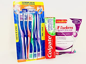 Colgate Toothpaste Sparkling White Mint Zing 6.4oz Dr.fresh 6 Pack Firm Toothbrushes,