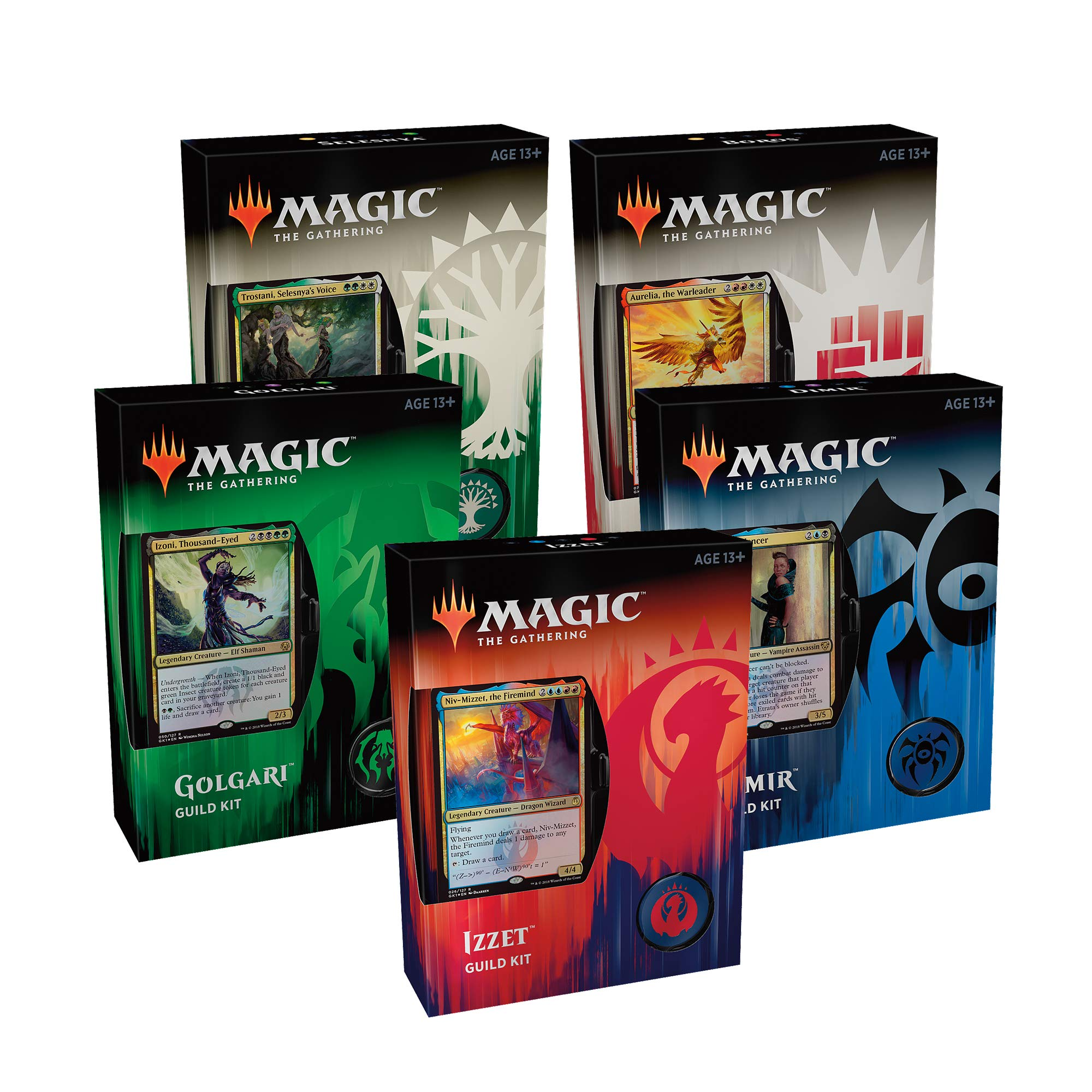 Magic: The Gathering Guilds of Ravnica Guild Kits | 5 Ready-to-Play 60-Card Decks | Accessories | Factory Sealed