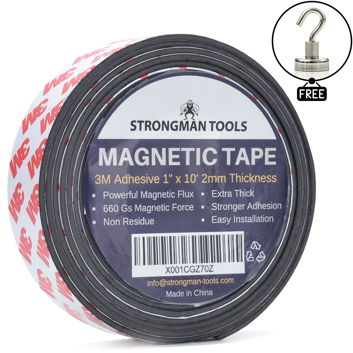 """Strongman Tools Magnetic Tape Roll 1"""" x 10 Feet, 2mm Thick, Free 25LBS Magnetic Hook! Genuine 3M Adhesive Backing, Extra Thick and Non Residue"""