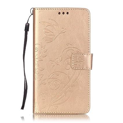 ISAKEN Kompatibel mit Galaxy J7 2016 Hülle, PU Leder Flip Cover Brieftasche Ledertasche Handyhülle Tasche Case Schutzhülle mit Handschlaufe Strap für
