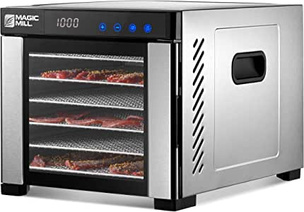 Magic Mill Commercial Food Dehydrator Machine | 7 Stainless Steel Trays | Adjustable Timer, Temperature Control | Dryer for Jerky, Herb, Beef, Fruit
