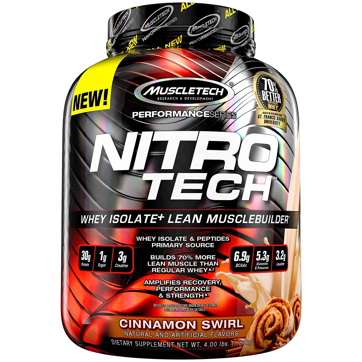 MuscleTech NitroTech Whey Protein Powder, Whey Isolate and Peptides, Cinnamon Swirl, 4 Pound