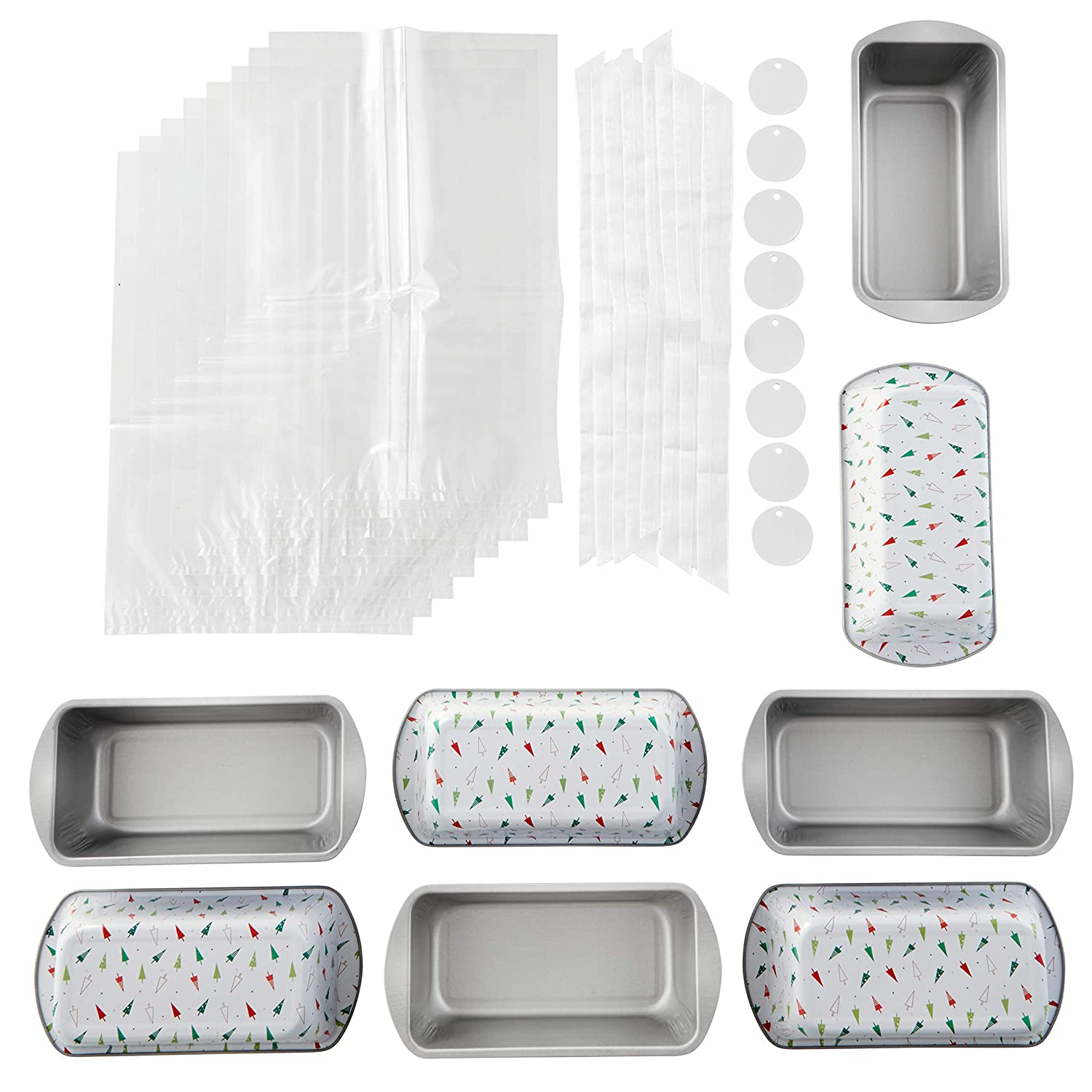 Wilton Bake and Bring Holiday Print Non-Stick Loaf Pans Gifting Kit, 10-Piece 2105-0-0032