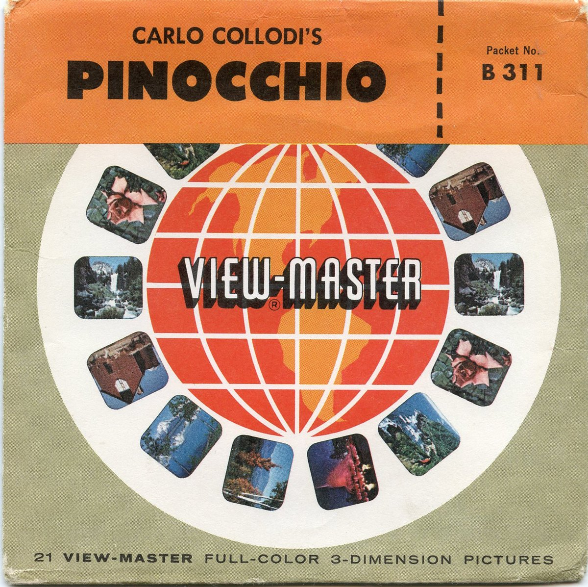 Carlo Collodi's PINOCCHIO - Classic ViewMaster 3 Reel Packet - 21 3D images - Sawyer's Universal edition