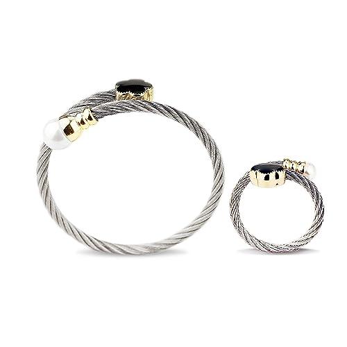 Juego de pulseras y anillos de acero inoxidable para mujer, triples, dos apilables, con alambre trenzado