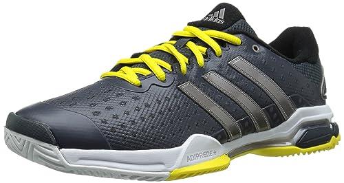 uk availability 55250 6ca44 Adidas Performance Men s Barricade Team 4 Tennis Shoe, Dark  Grey Silver Bright Yellow