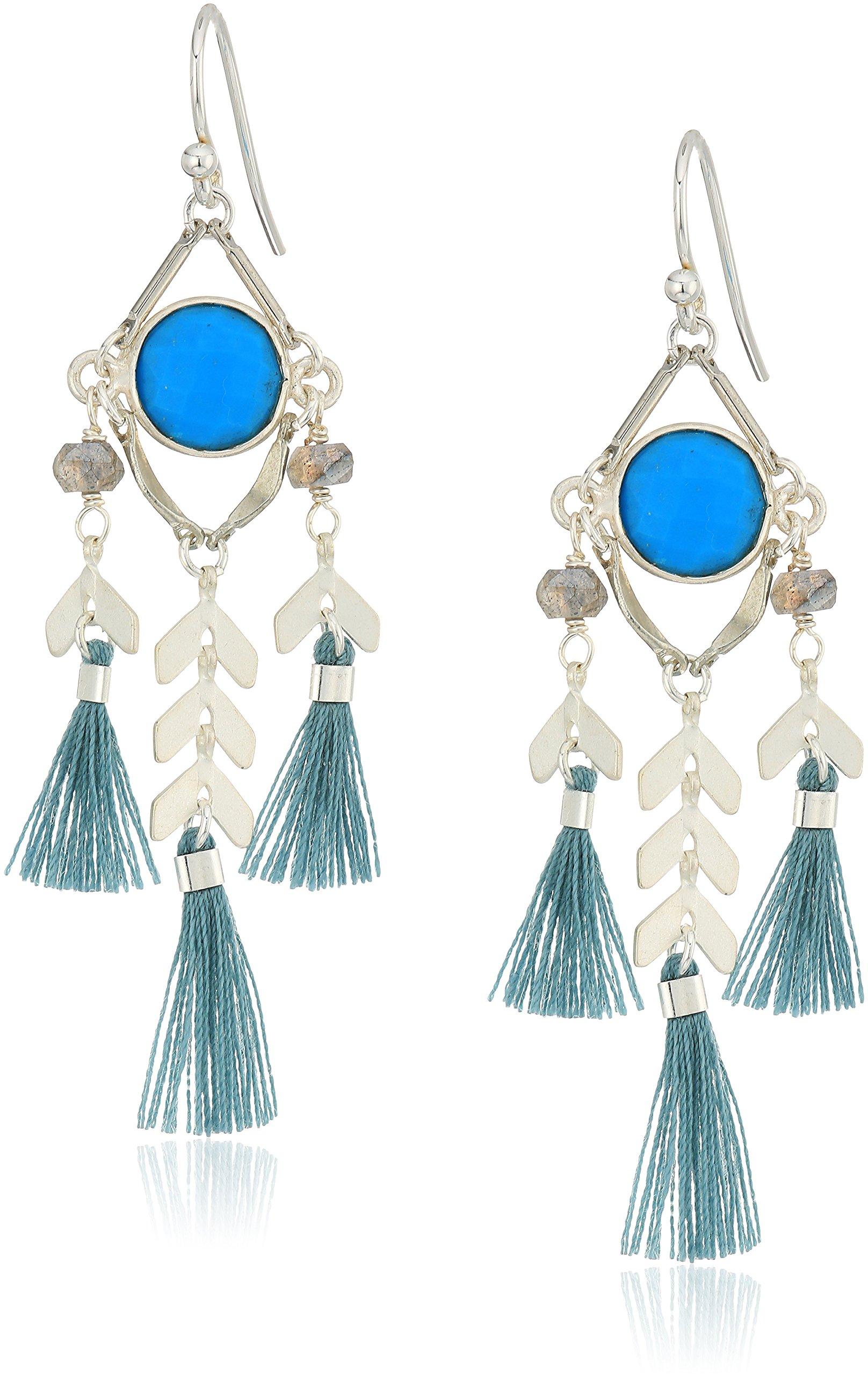 Chan Luu Turquoise Stone and Tassel Drop Earrings