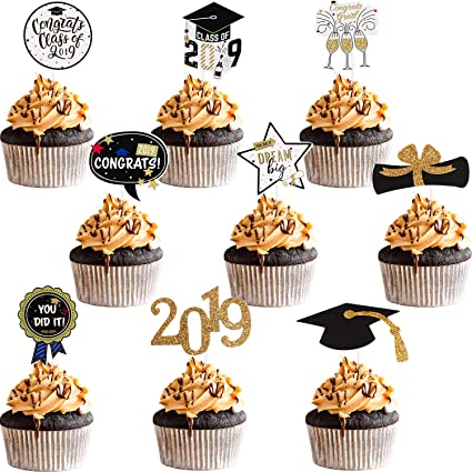 96 Pieces Graduation Cupcake Toppers Congrats Grad Glitter